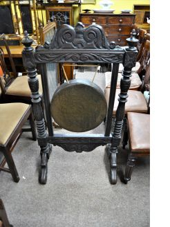 Victorian oak brass gong