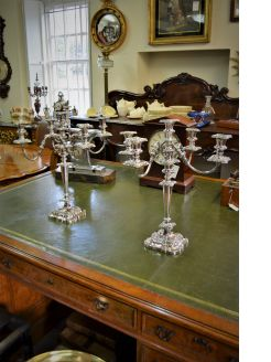 Pair silver plated candelabra