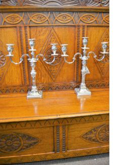 Pair silver candleabra