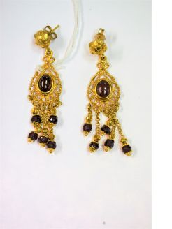 Pair 9ct gold & garnet earrings