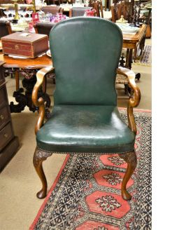 1920s walnut & leather  chair