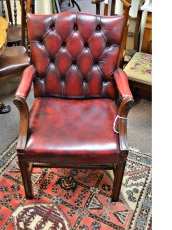 Leather mahogany chair