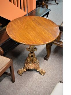 Old cast iron & oak top table