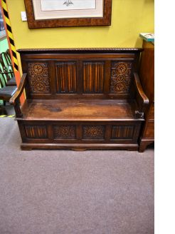 Victorian carved oak monks bench