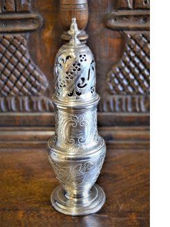 18th century silver castor