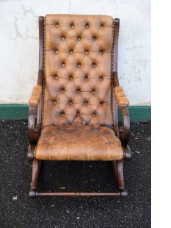 Mahogany & leather rocking chair