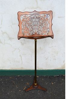 Victorian walnut & brass music stand