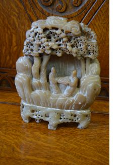 Antique chinese carved soapstone group