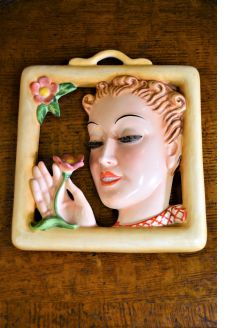 Art deco porcelain wall plaque