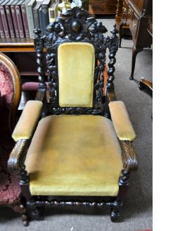 Victorian carved oak armchair