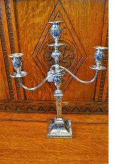 Silver plated candleabra
