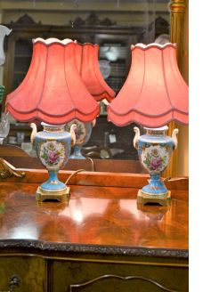 Pair of porcelain table lamps