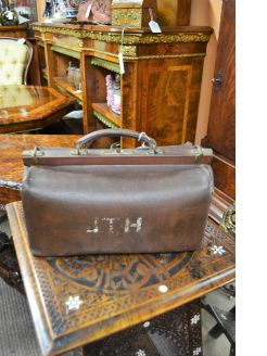 Old leather travel bag