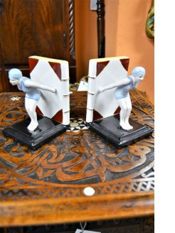 Pair of art deco porcelain bookends