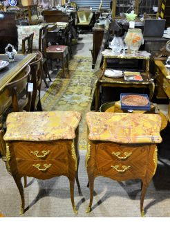 Pair of kingswood french marble top pedestals