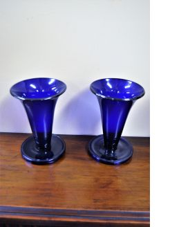 Pair of 19th century Bristol blue glass vases