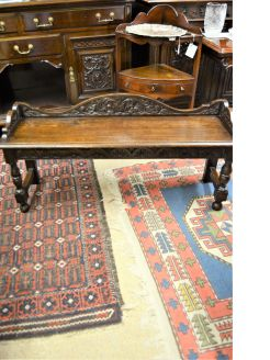 Victorian carved oak bench