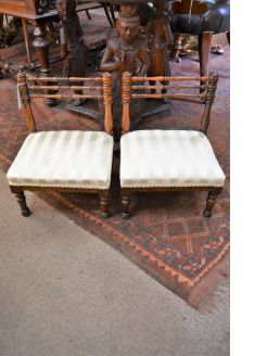 Pair 19th century rosewood childs chairs