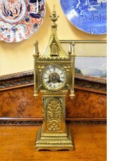 Victorian gothic style brass clock