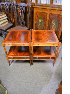 pair of mahogany low tables