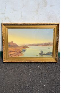19th century gilt framed watercolour,signed