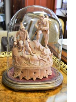 19th century black forest wood carving in glass dome