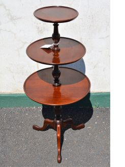 Mahogany three tier dumb waiter
