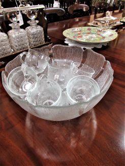 Glass punch bowl & twelve glasses