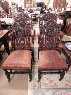 Set ten victorian carved dining chairs