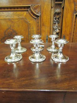 Set of six plated candlesticks