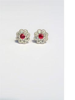 Pair of ruby & diamond earrings