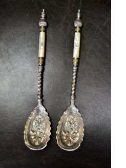 Victorian plated  & mother of pearl servers