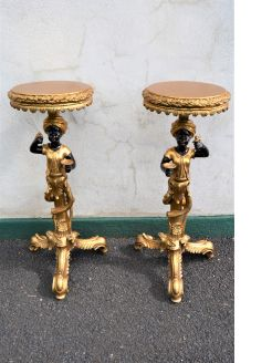 Pair of gilt pedestals