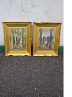 Pair of gilt framed watercolours