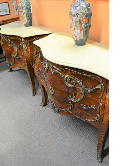 Pair of marble top french chests