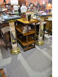 Pair of marble top pillars/pedestals