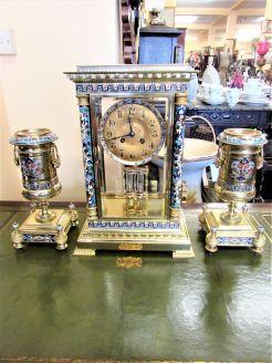 Three piece french clossonie clock set