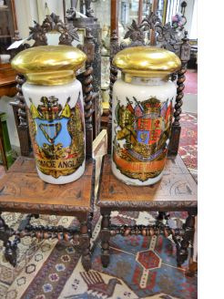 19th century glass painted pharmacy jars and covers