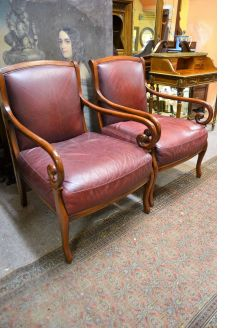 Pair of 1970s leather armchairs