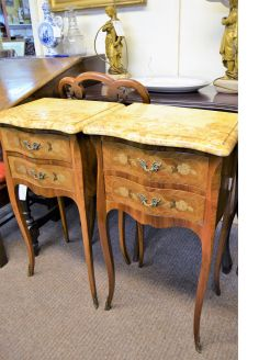 Pair of marble top french pedestals