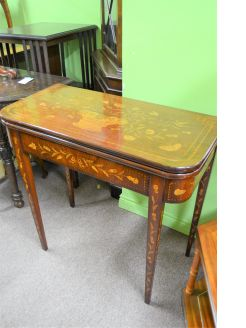 19th century dutch card table with marquetry and inlay