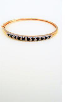 9ct gold ,diamond & sapphire bangle