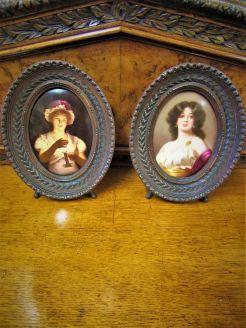 Pair of german /austrian hand painted porcelain plaques