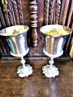 Pair of plated goblets