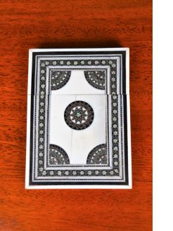 Inlaid bone indian card case