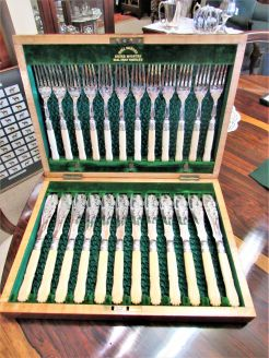 Cased victorian plated forks & knives set