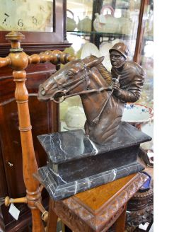 Bronze horse & jockey on marble plinth