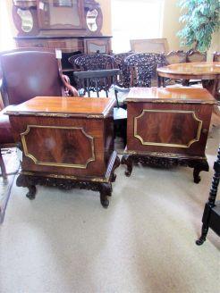 Pair mahogany gilt pedestals