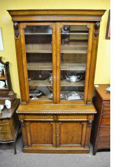 Victorian two door bookcase