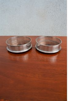 Pair of silver coasters